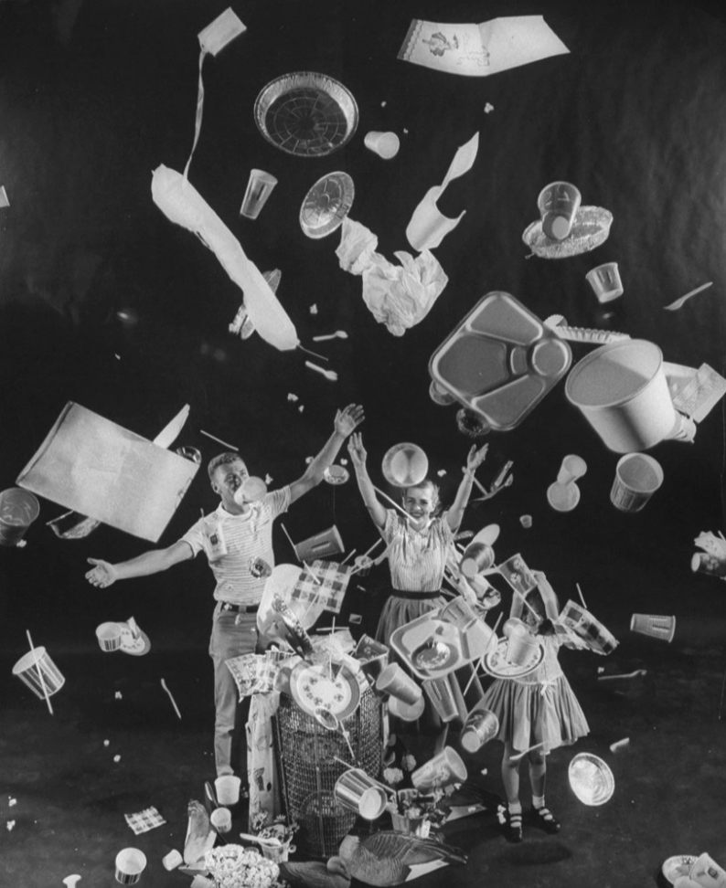 Take this image from a 1955 Time Magazine glorifying the age of  throwaway living . Today I interpret this image as being flooded with our own trash. Did it really make things better?