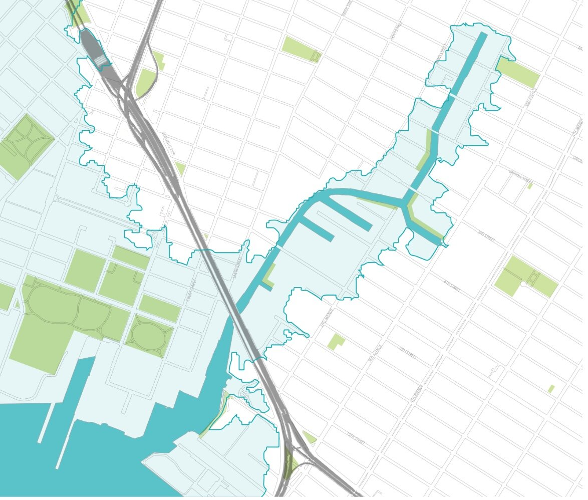 The Gowanus Canal with the surrounding flood zone.