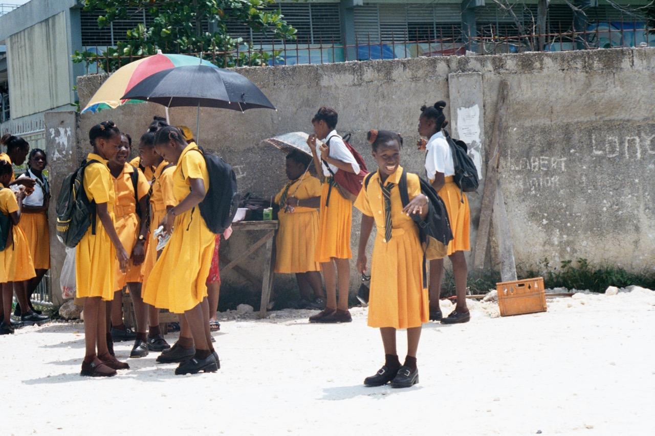 Schoolgirl cheesing for the camera.