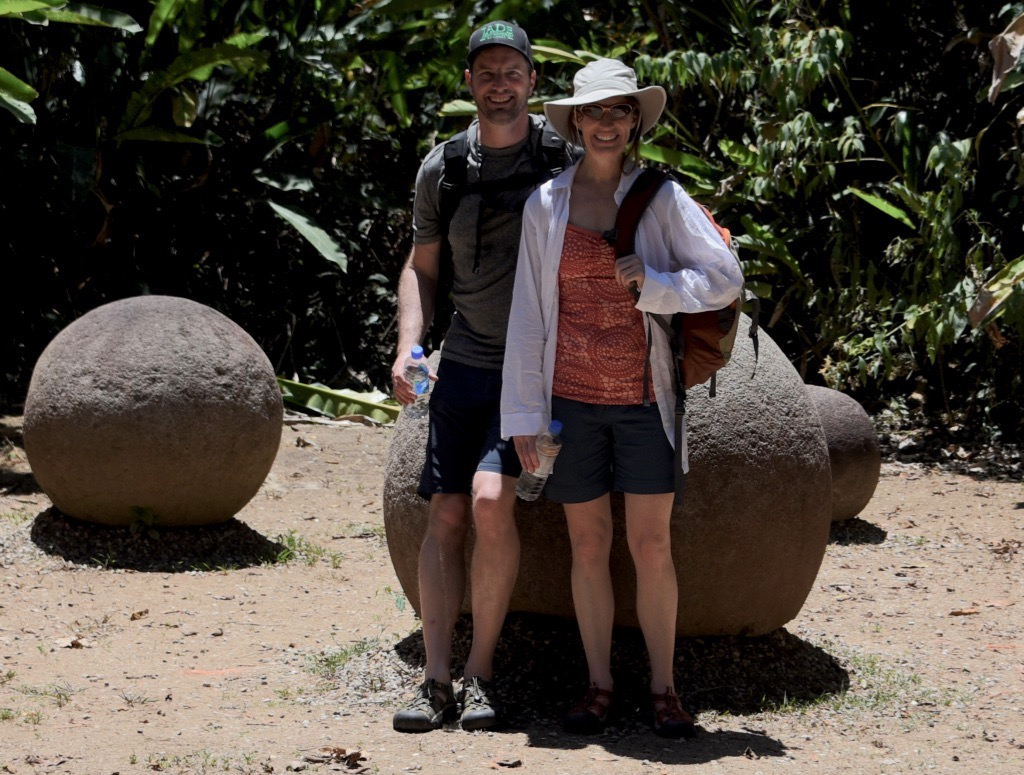Melissa & I with ancient stone spheres near Sierpe, Costa Rica
