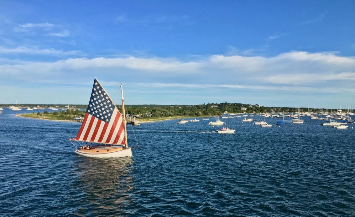 Patriotic sailboat at Edgartown Harbor 2016