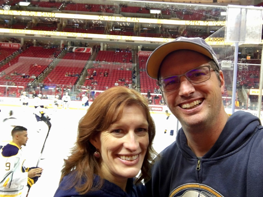 Melissa & I at the Buffalo Sabres-Carolina Hurricanes game in Raleigh last year