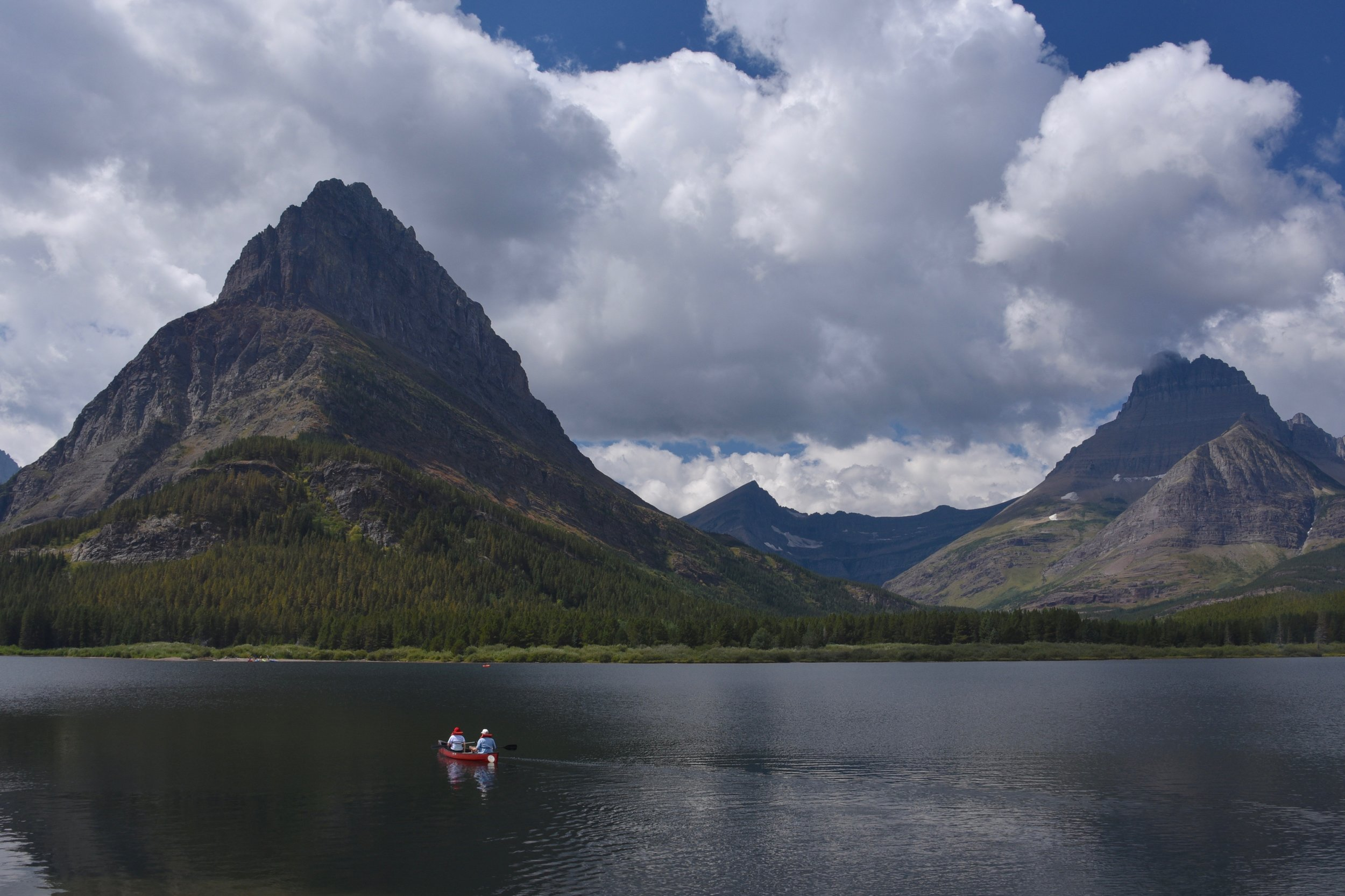 Paddlers on Swiftcurrent Lake