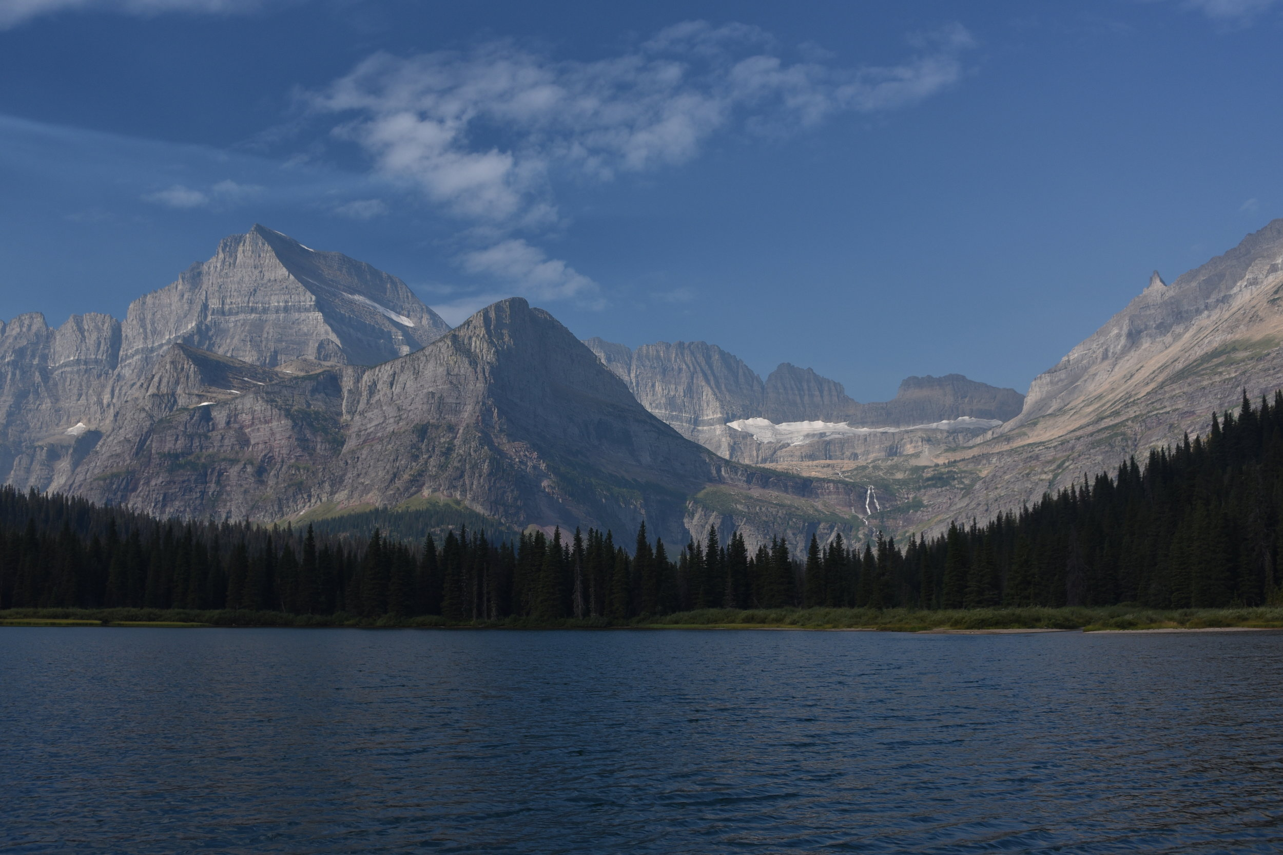 View over Lake Josephine to Grinnell Glacier