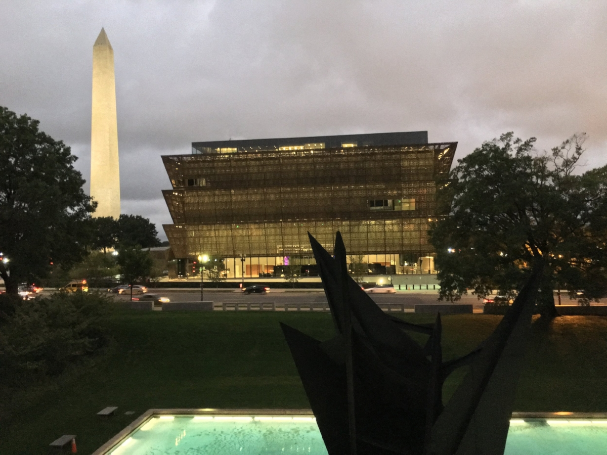 The view from the American History Museum towards the African American Museum and the Washington Monument