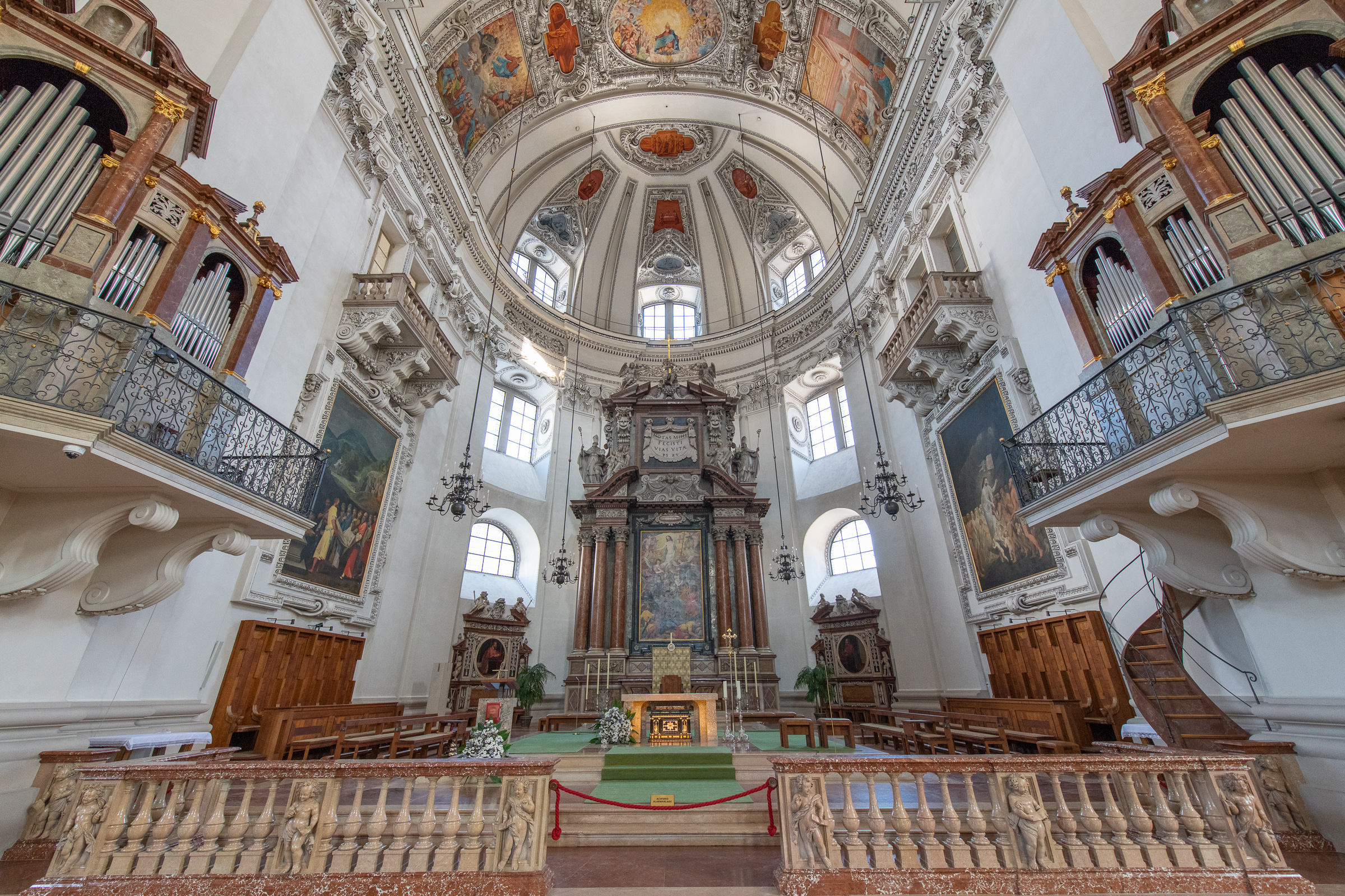 The beautiful interior of Salzburg Cathedral