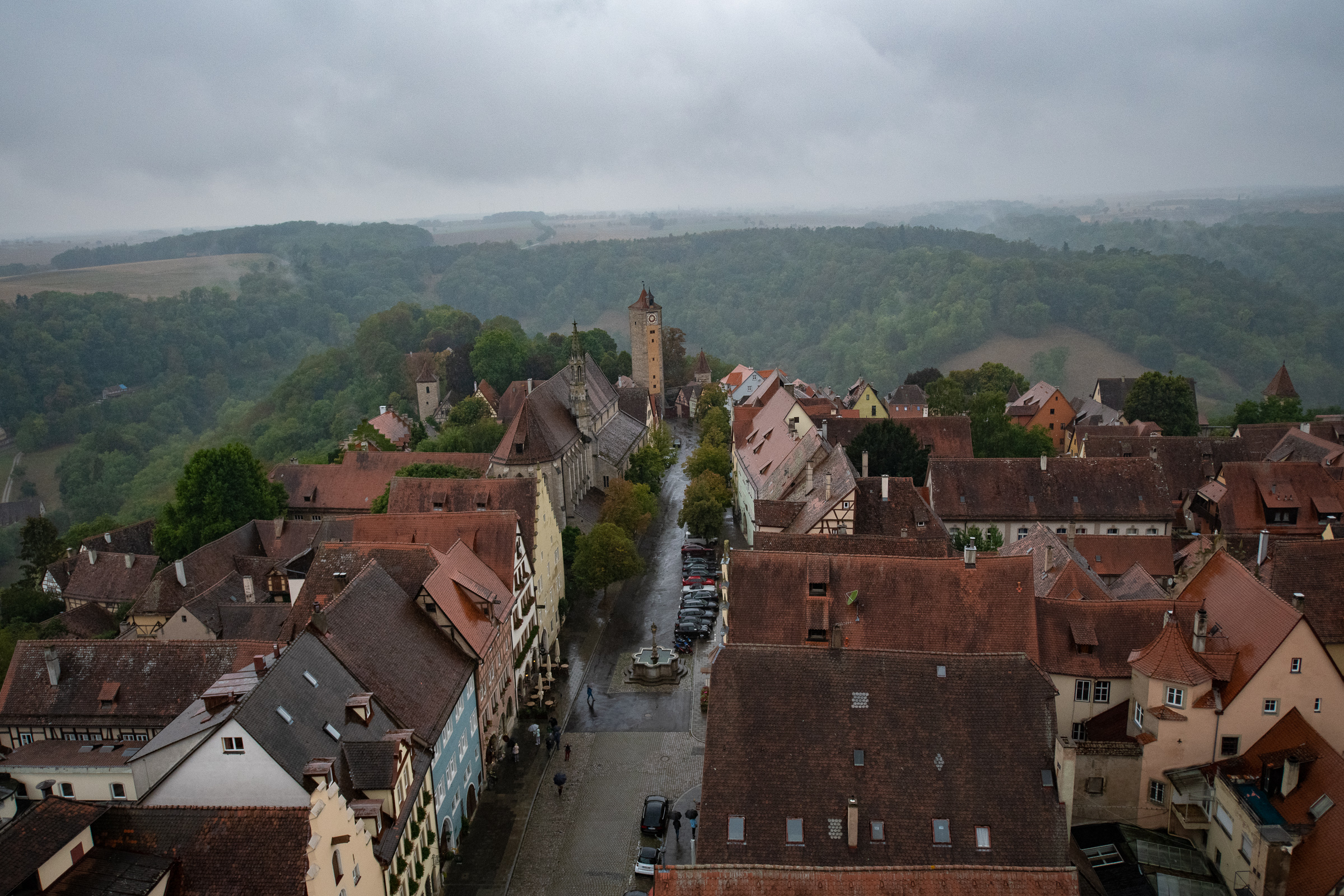 Rainy view toward Castle Gate