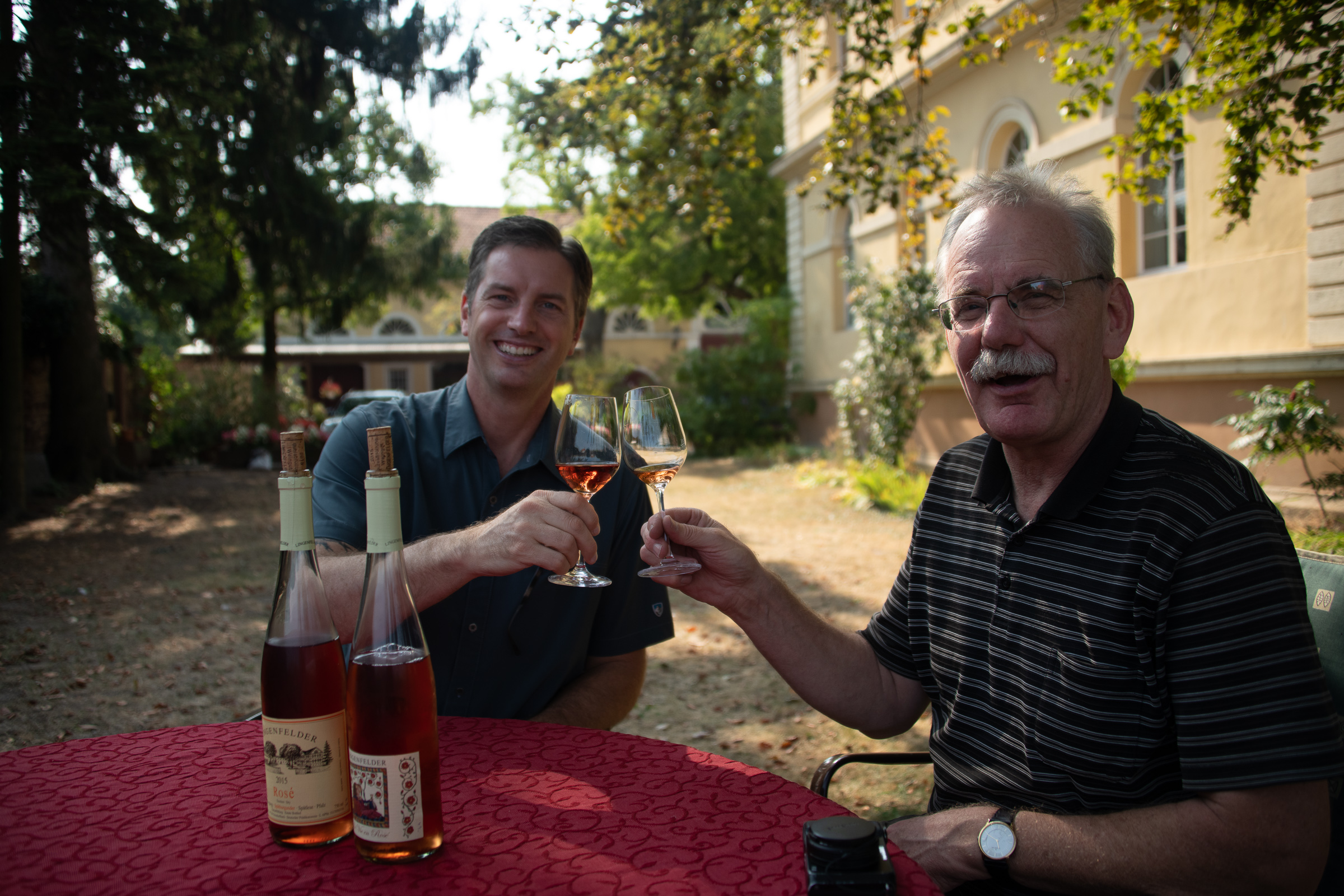 My distant cousin, Rainer Lingenfelder and I enjoying his fabulous Rose'
