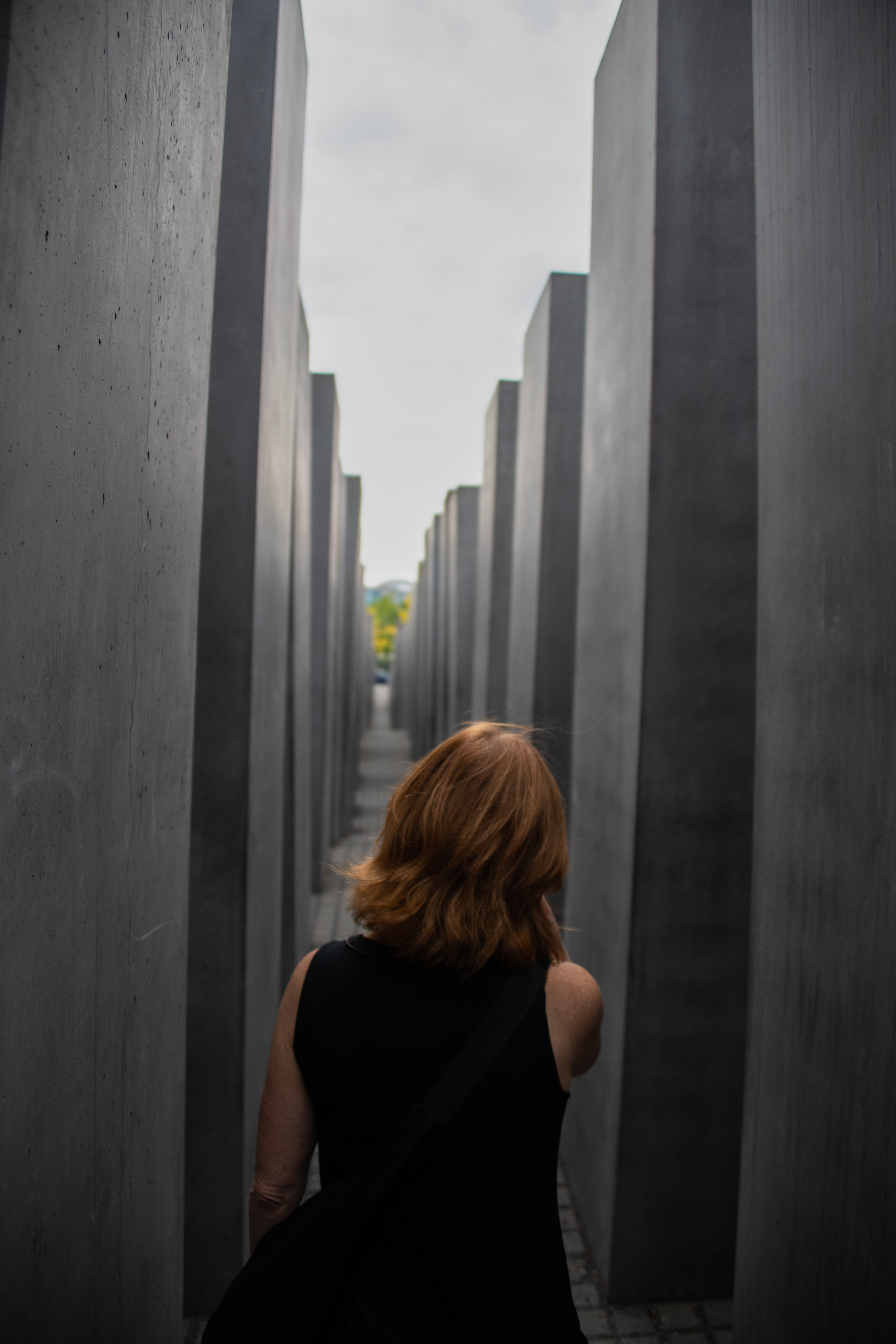 Melissa walking through the Memorial to the Murdered Jews of Europe in Berlin, Germany