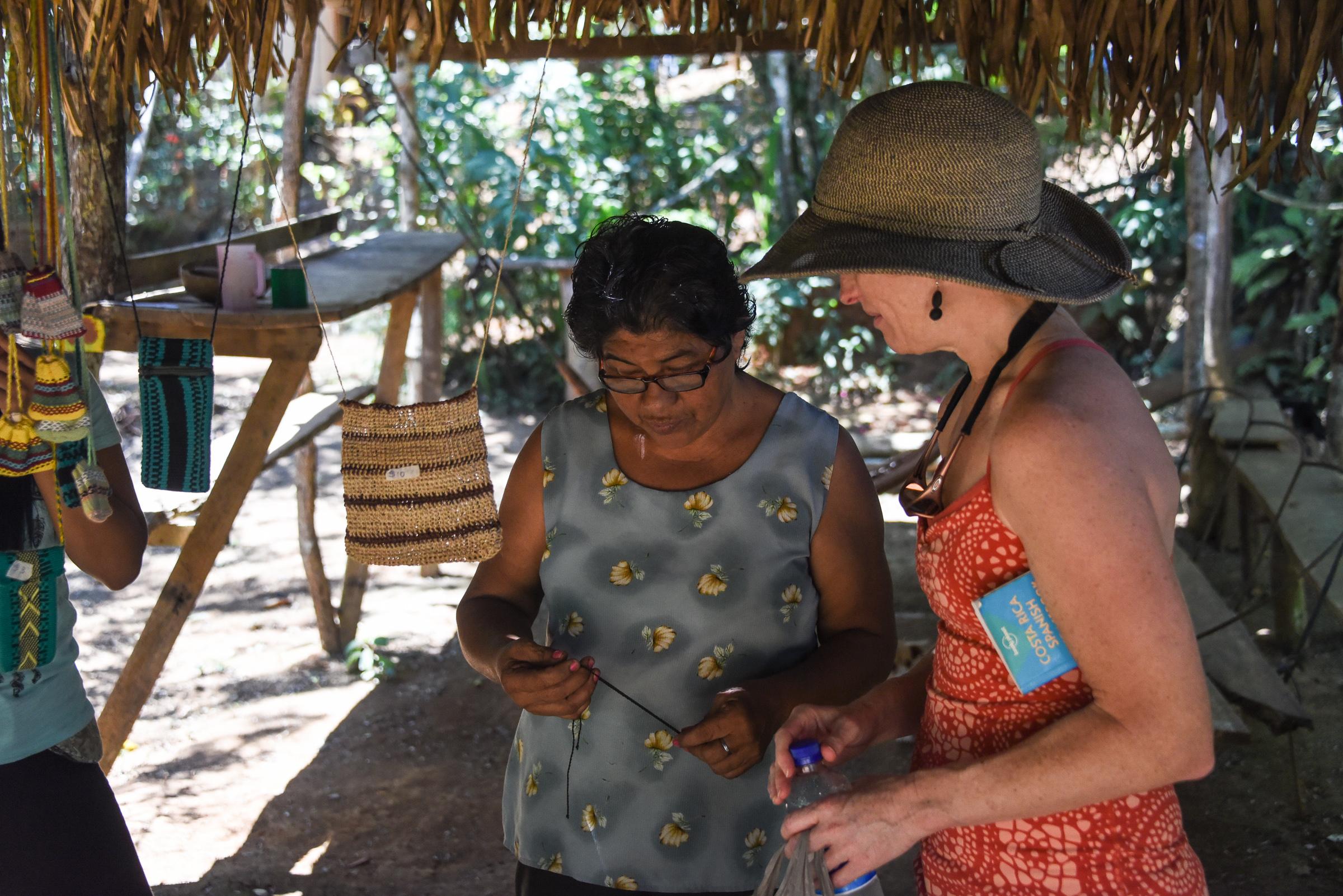 Melissa with an artisan in the Boruca village, Costa Rica