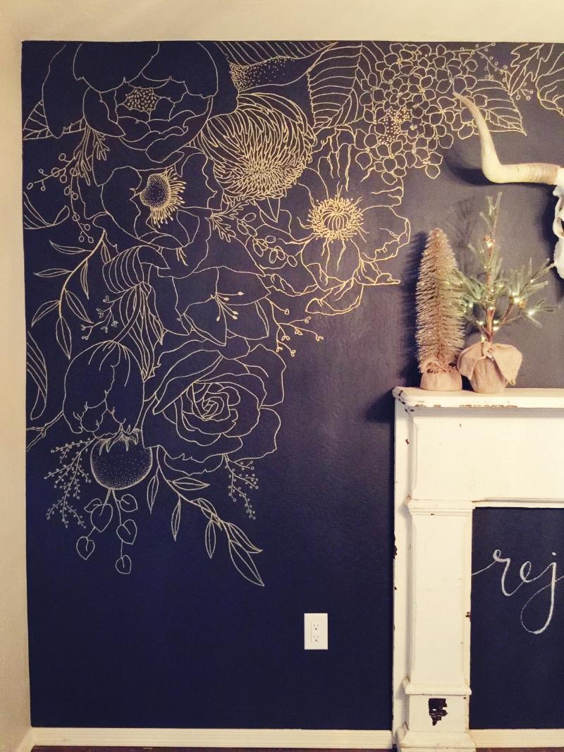 2. Faux Wallpaper: Gold Paint Marker Mural - Gracelaced blog