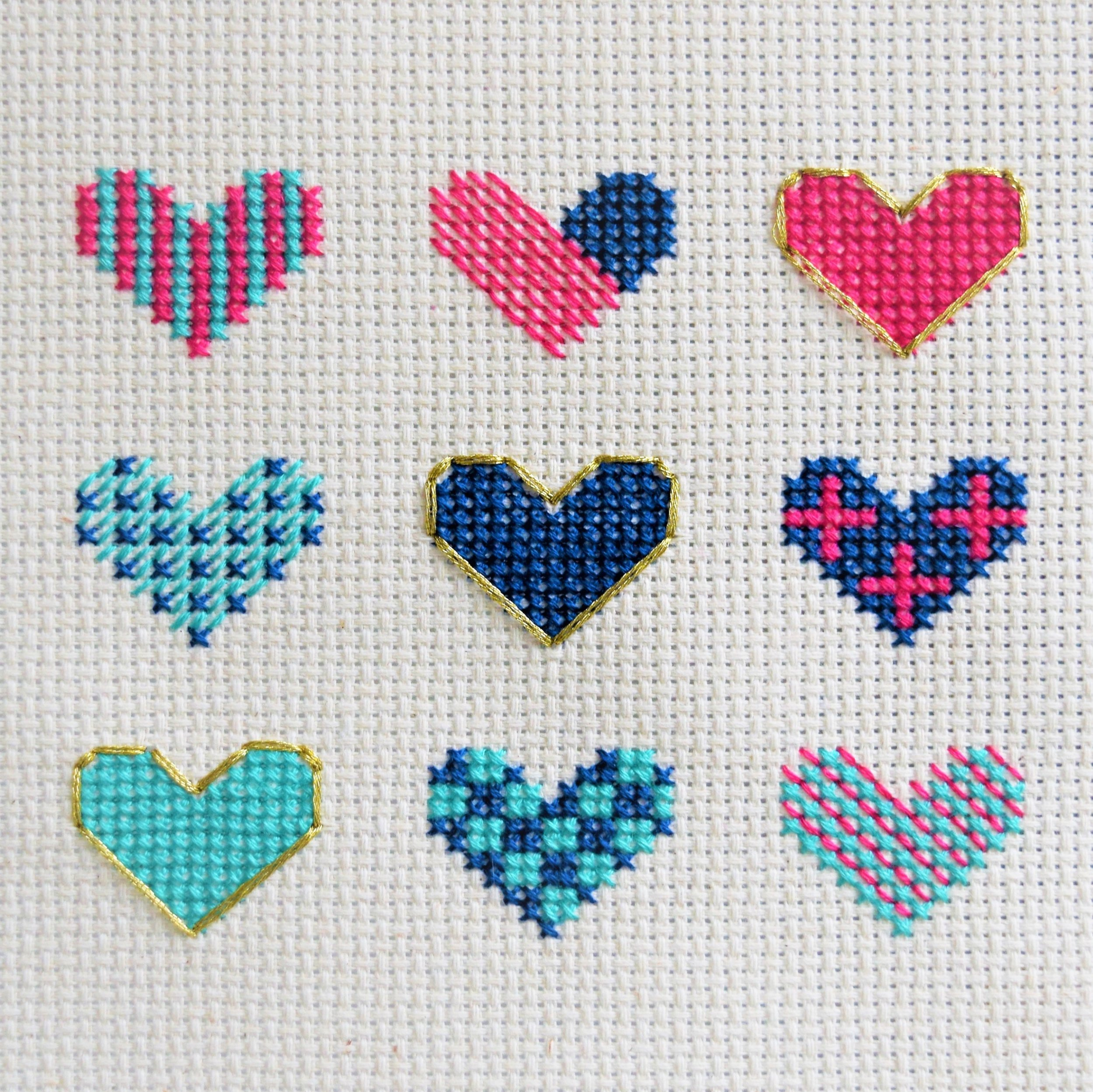 3. Heart Sampler cross stitch pattern - Blue Octopus Stitchcraft