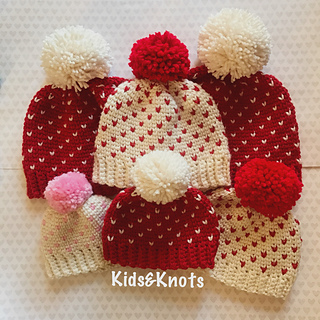 5. Crocheted Valentines-ish hats - Kelsey Daughtry/Ravelry
