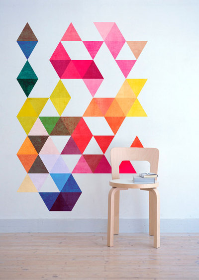 4. Multi-Colored Triangles Wall Art - moonwallstickers