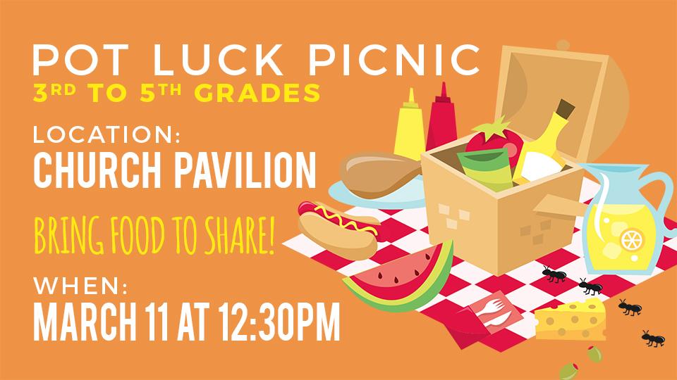 Sunset Church of Christ Pot luck picnic for kids.