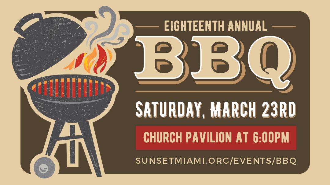 Sunset Church of Christ annual BBQ. Kid-friendly.