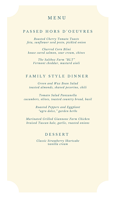 Summer Farm Dinner - July 2017The Fields at Saltbox Farm50 Guests