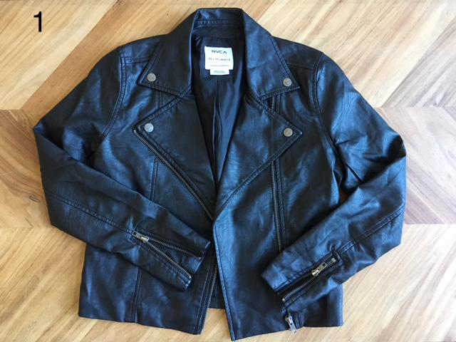 RVCA vegan leather - the perfect black leather jacket for me. It goes with everything! I wish it came in more colors.