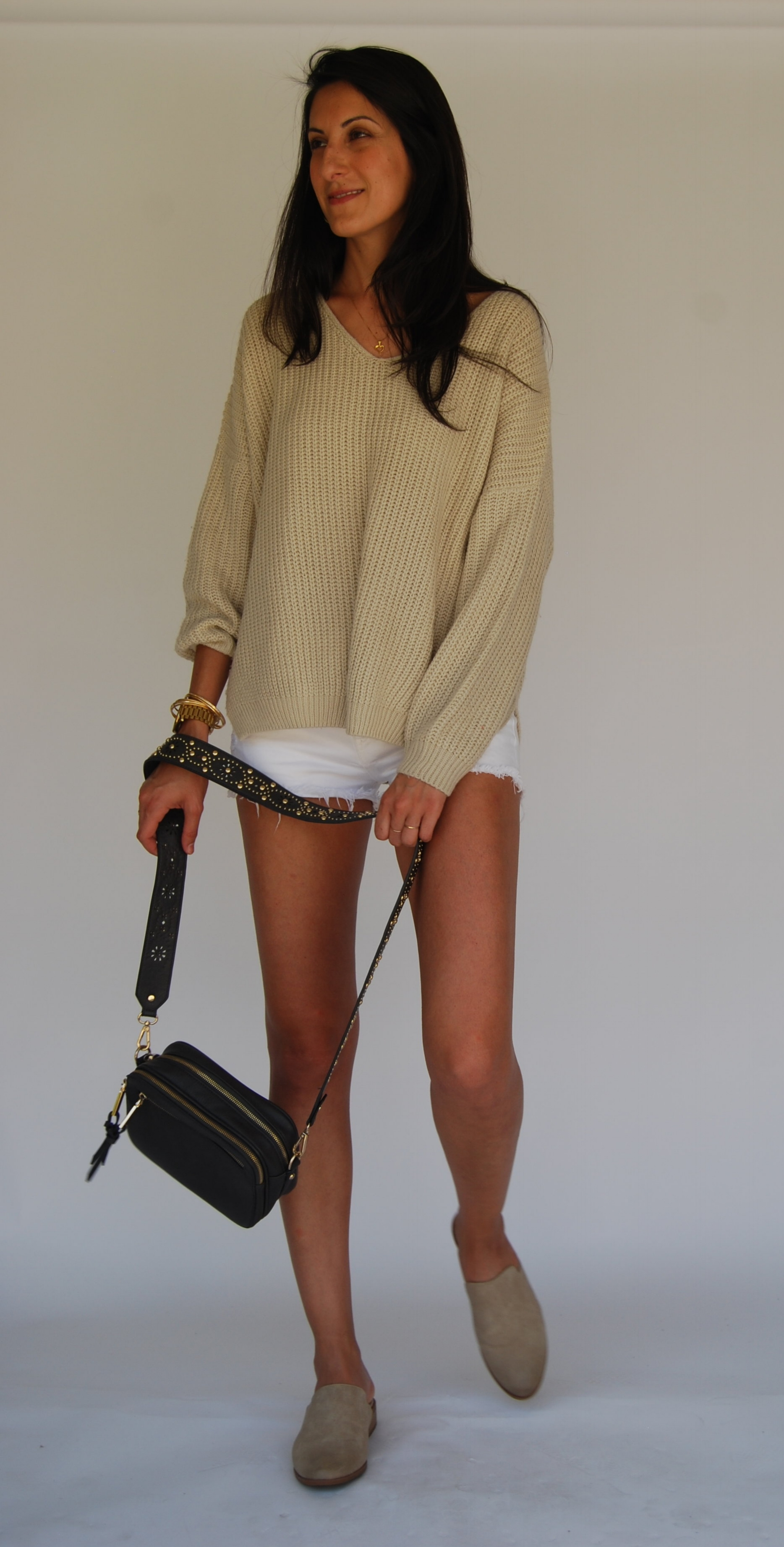 - 1. With shorts and sweater. Super muted colors. Nothing fancy, but still cute, put-together, and comfortable.