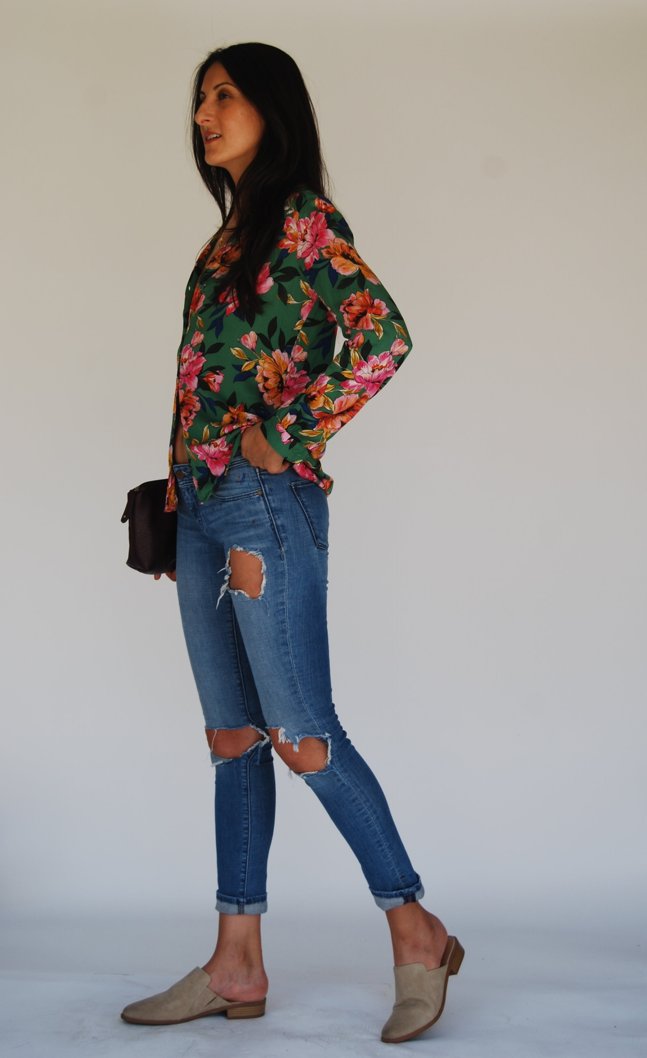 - 5. Last, but not least, my personal fave. Bright floral blouse, with distressed jeans. I'm kinda obsessed with this blouse and I love how the shoes keep it chill. This could be another date night look, or girl's night out. Totally depends on what makes you feel more comfortable.