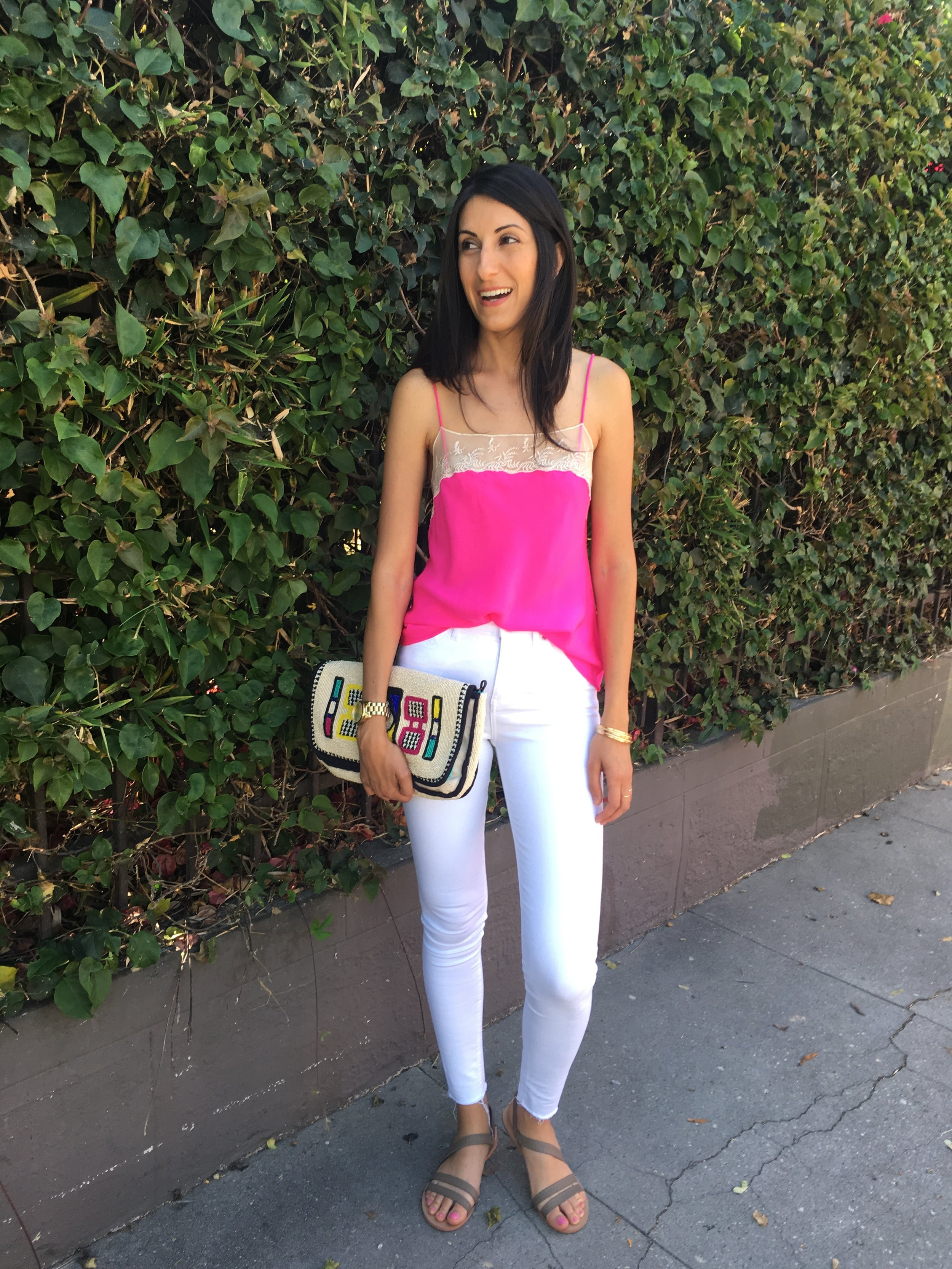 Urban Outfitters magenta silky camisole - Summer style- White jeans, neutral sandals. Have fun! =)