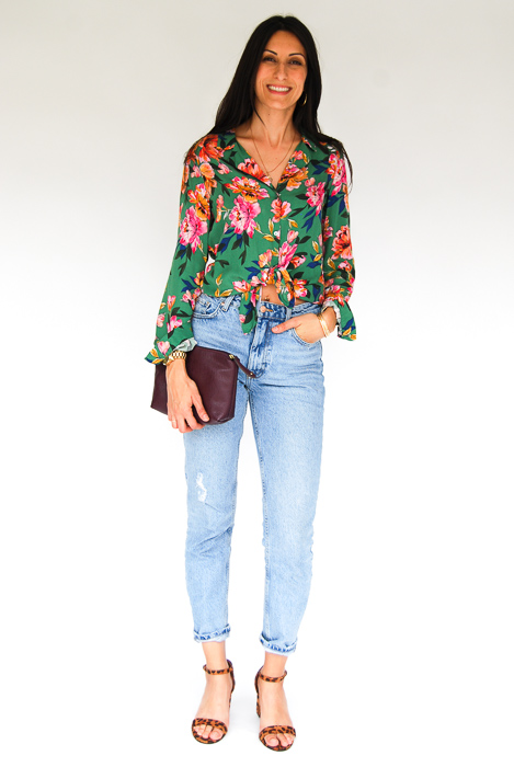 - Zara printed blouse + Zara light wash relaxed denim + cheetah strappy heels + Plum clutch