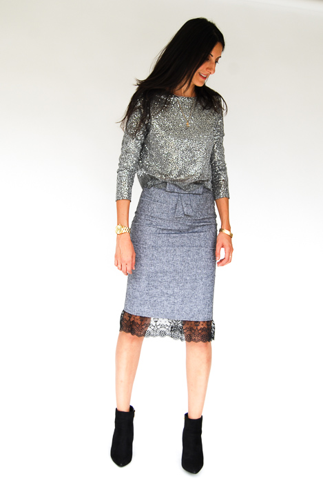- sparkly pullover + grey pencil skirt + black ankle boots