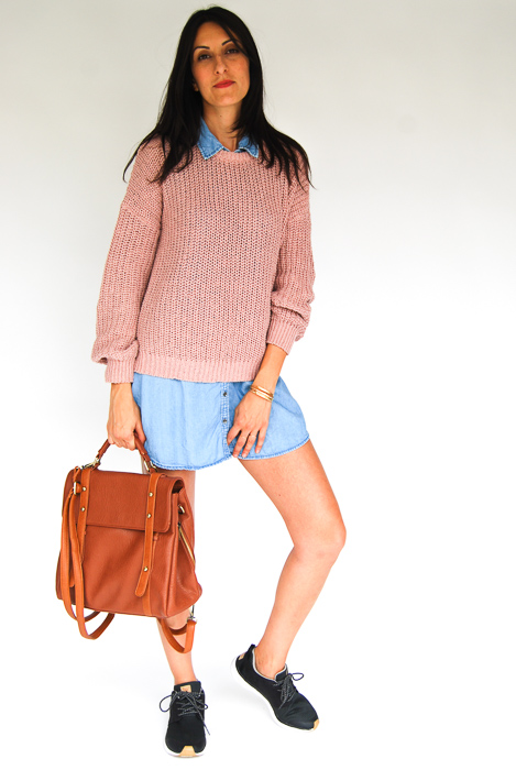 - chambray dress + blush pullover layered on top + Roxy sneakers + tan backpack
