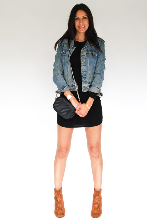 - black body con + jean jacket + Billabong boots + black crossbody