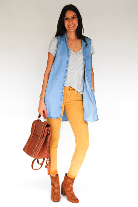 - striped tee + Mother denim mustard jeans + chambray dress, open, layered on top + tan backpack + Billabong boots