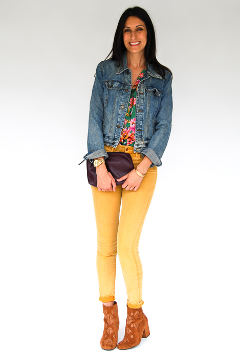 - Mother denim mustard jeans + Zara printed blouse + denim jacket + Billabong ankle boots + plum clutch