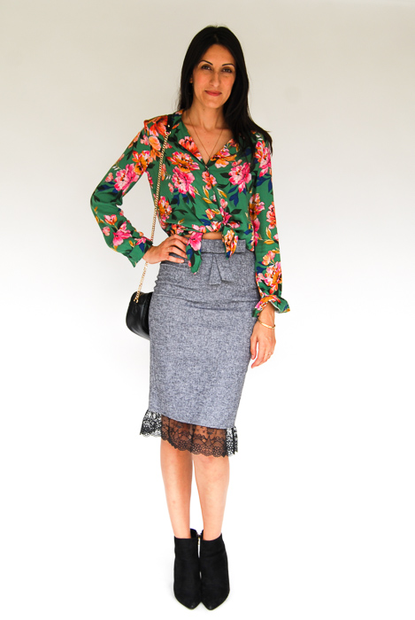 - Zara printed blouse + grey pencil skirt + black ankle boots + black crossbody