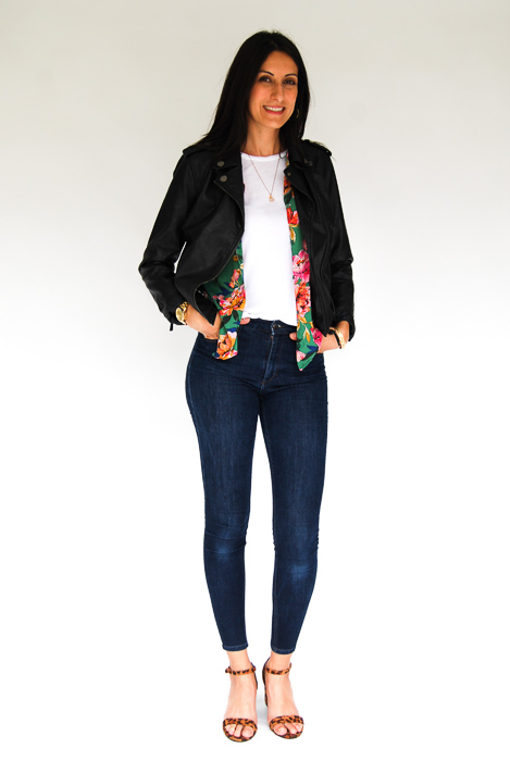 - white tee + Zara printed blouse open + vegan leather jacket + Joe's skinnies + cheetah strappy heels