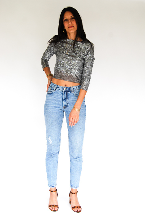 - Zara light wash relxed jeans + sparkly pullover + cheetah strappy heels