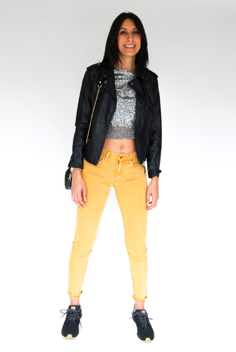 - Mother denim mustard jeans + sparkly pullover + vegan leather jacket + black crossbody + Roxy sneakers
