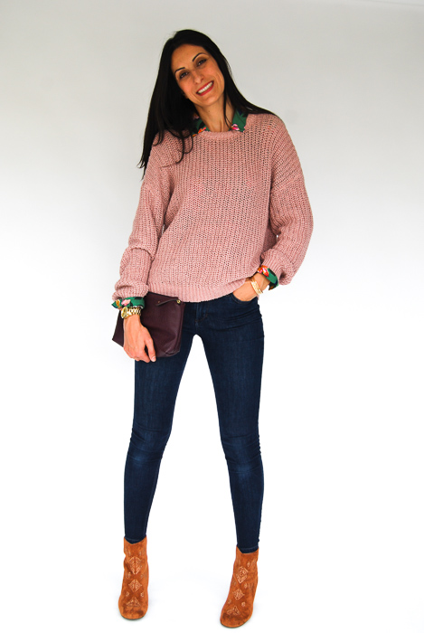 - Zara printed blouse + blush pullover on top + Joe's skinnies + Billabong boots + plum clutch