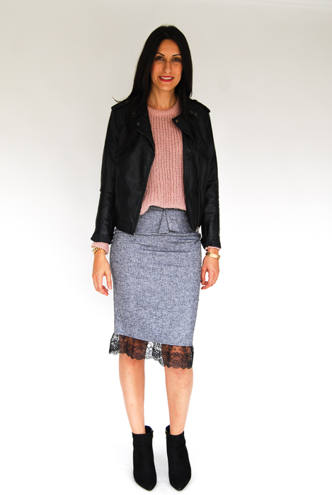- grey pencil skirt + blush pullover + vegan leather jacket + black ankle boots