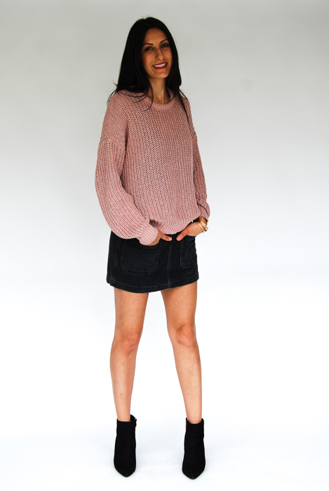 - Black jumper + blush sweater layered on top + black ankle boot