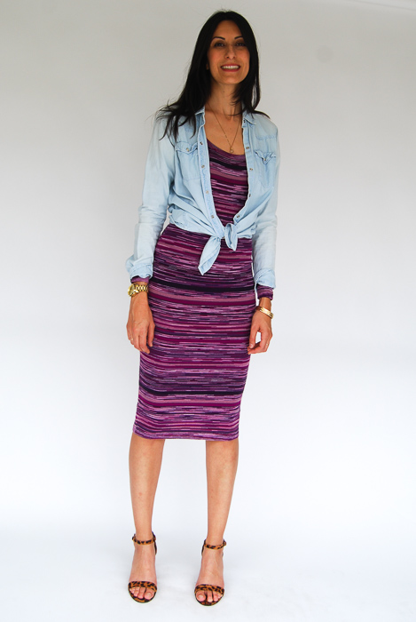 - purple sweater midi + chambray layered on top + cheetah strappy heels