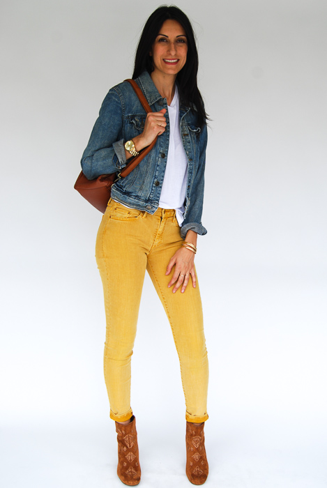 - Mother denim mustard jeans + white tee + jean jacket + tan backpack + Billabong boots