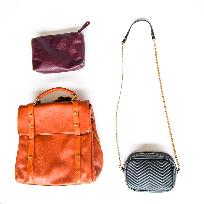 - Bags - small cross-body, tan backpack, plum clutch