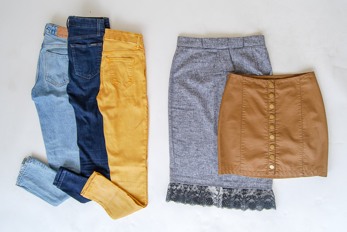 - Bottoms- Zara light wash relaxed denim, Joe's Jeans dark skinnies, Mother Denim mustard skinnies, Grey pencil skirt w/ lace trim, Free People tan vegan leather mini
