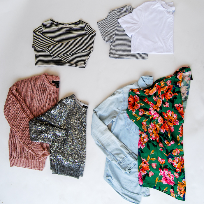 - Tops- v-neck stripped tee, crew neck white tee, floral printed Zara blouse, Hollister chambray shirt, cropped Zara sparkly pullover, Blush pullover, black and white striped 3 quarter sleeve tee