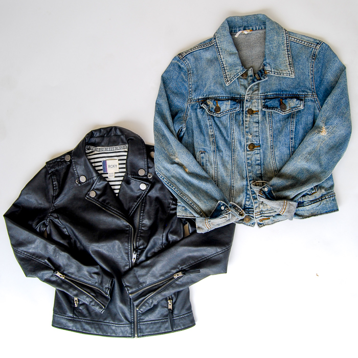 - Jackets - Roxy black vegan leather jacket, Free People denim jacket