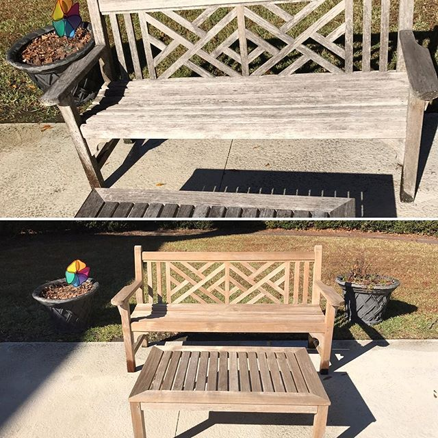 Before and after outdoor furniture! #charleston #mountpleasant #jamesisland #seabrooke #presssurewashing #windowcleaning #medic #cleaning #outdoor #outdoorfurniture