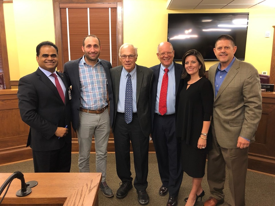 L-R: Fort Bend County Judge  KP George, David Ginter, Dr. Glen Ginter, Commissioner Meyers, Tricia Krenek, and Ed Krenek at Fort Bend County Commissioners Court on Tuesday, June 25, 2019.