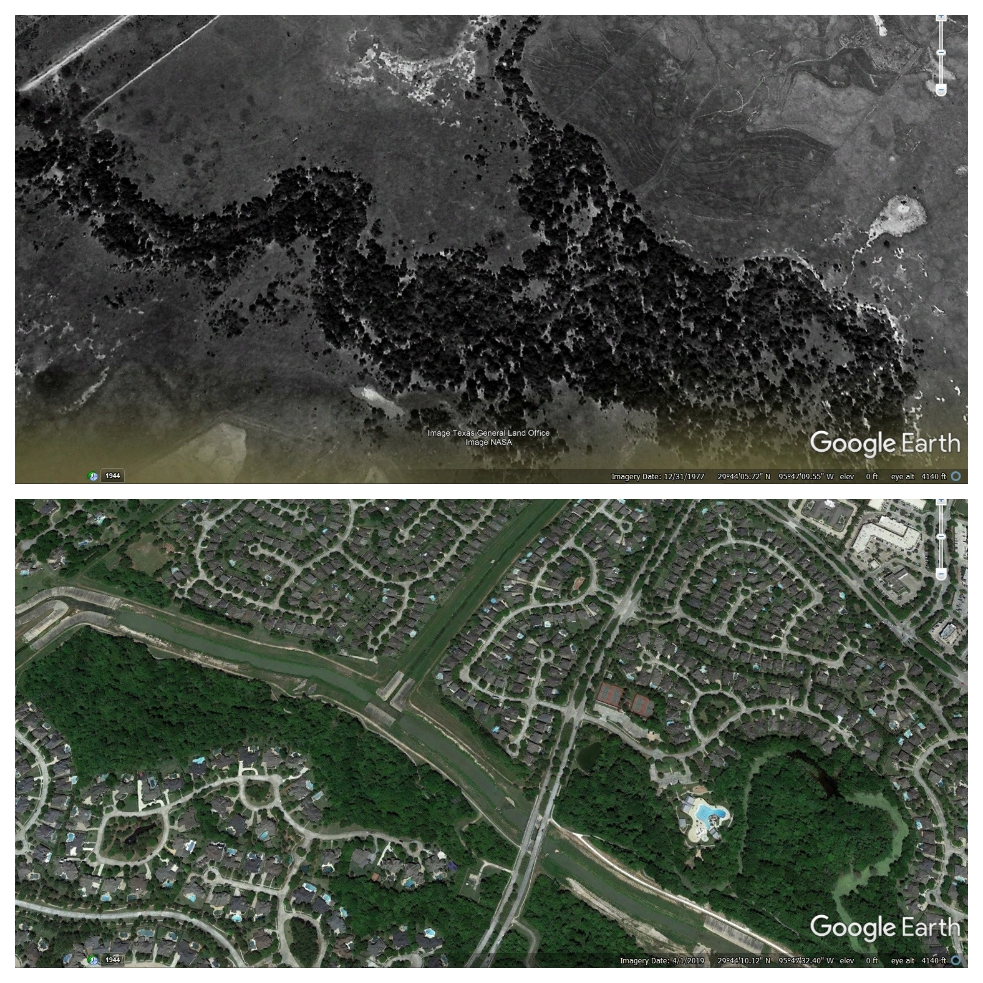 Illustrative photos for comparison from Google Earth historical records, show the significant change that has occured how much it has changed.