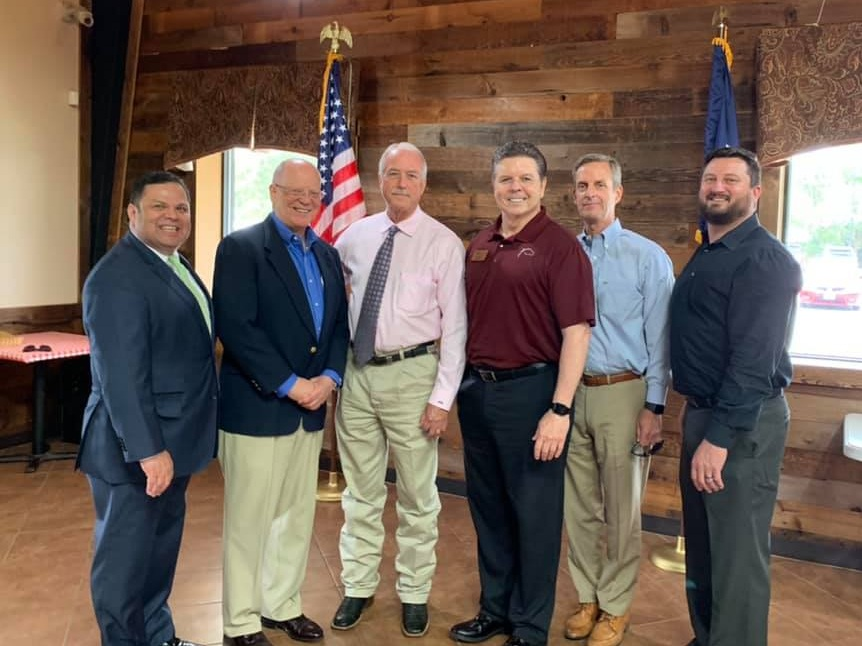 Commissioner Meyers with Mayor Bill Hastings, Fulshear-Katy Chamber Director Don Mccoy, Chamber directors Terry Crockett an Hugh Durlam at the Mayor's presentation of Katy's Boardwalk Project, which is a join funding effort between Fort Bend County and Katy August 28th at Midway BBQ.