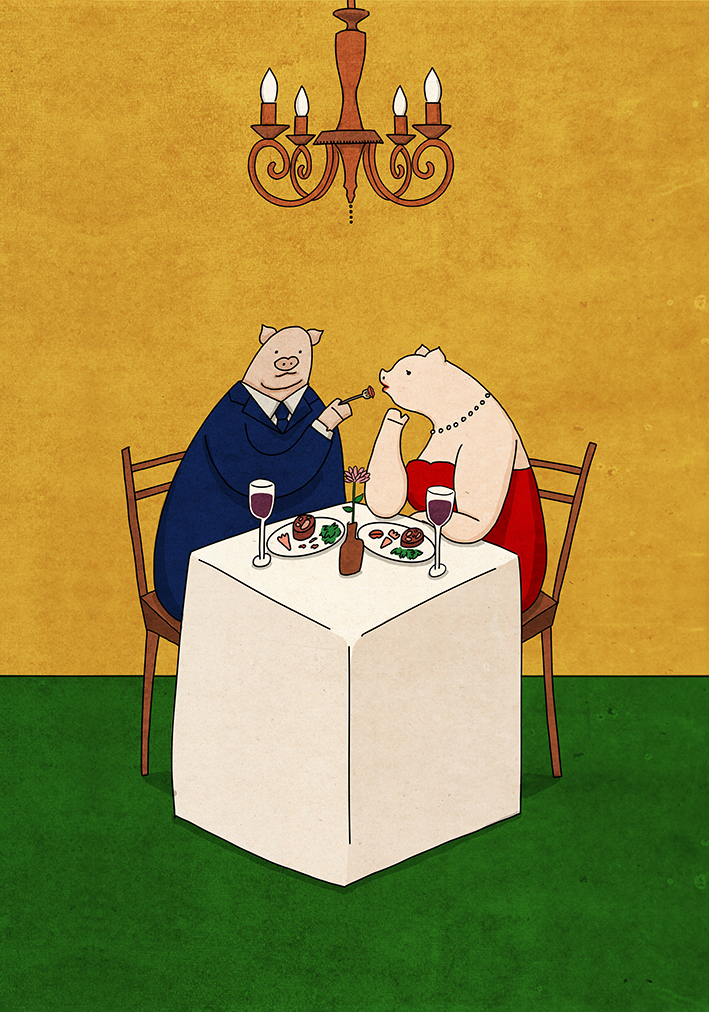 Pig on the dinner table