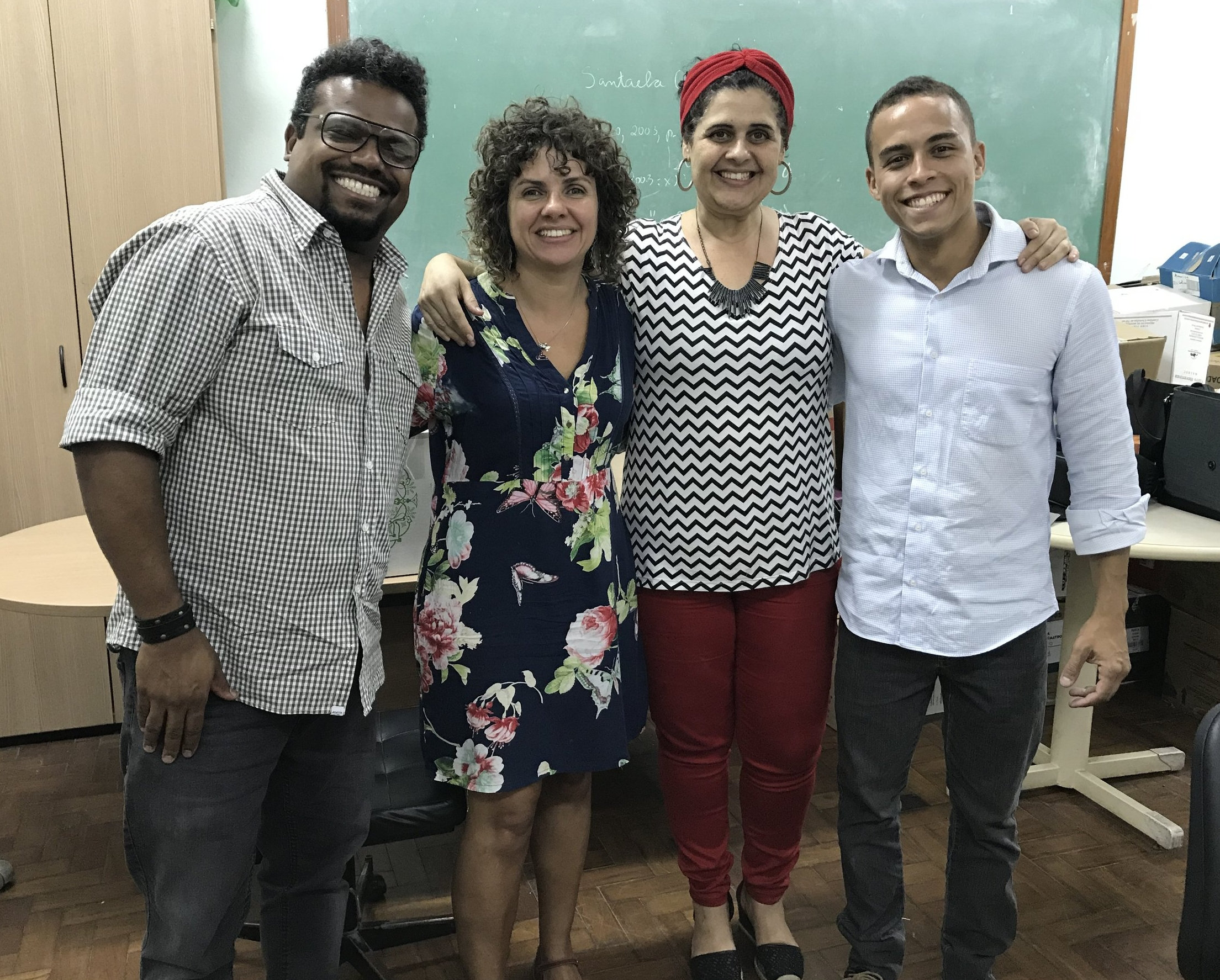 Photo after the defense of the Course Conclusion Project at the Rural Federal University of Rio de Janeiro. From left to right: Daniel; professor and tutor, Simone Orlando; and the professors of the examination board; Rejane Moreira and Wagner Costa.